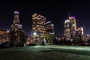 Обои Штаты Здания Вечер Лос-Анджелес Уличные фонари