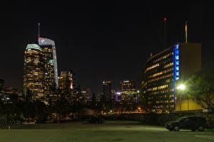 Фотография Штаты Здания Лос-Анджелес Уличные фонари Ночные