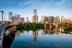 Картинки Америка Здания Река Мосты Техас Austin город