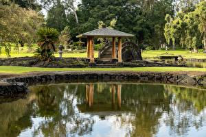Фото Штаты Парк Пруд Мосты Гавайи Lili'uokalani Park Kauhiula Природа
