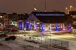 Фото Америка Зимние Дома Вечер Чикаго город Улиц Уличные фонари Города