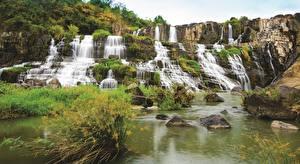 Фото Вьетнам Водопады Камень Pongour Falls Природа