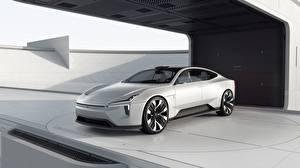 Обои для рабочего стола Volvo Белых Металлик Седан Polestar, Precept, concept Автомобили
