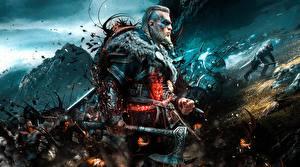 Фотографии Assassin's Creed Воины Мужчина С топором Викинг Valhalla 2020 компьютерная игра Фэнтези