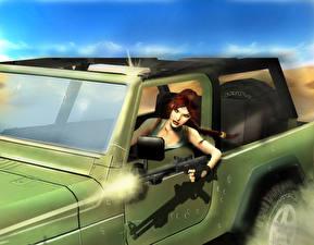 Картинка Tomb Raider Автоматом Tomb Raider Anniversary Лара Крофт Косички компьютерная игра Девушки 3D_Графика