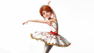 Фото Белом фоне Балета Платья Позирует Рыжие Balerina (Felis) 3D_Графика Девушки