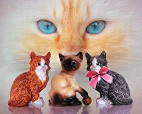 Картинки Кот Глаза Скульптуры Бант животное