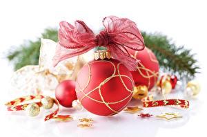 Фото Рождество Крупным планом Шар Бантик Красные