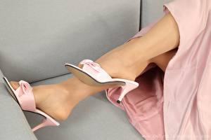 Картинки Крупным планом Ноги Туфлях Колготок Девушки