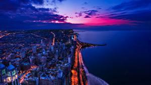 Фото Берег Штаты Вечер Здания Океан Небо Сверху город
