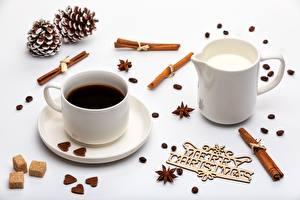 Фотография Кофе Корица Рождество Чашка Блюдце Сливки Еда
