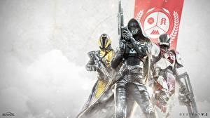 Картинка Destiny 2 Воин Шлем Капюшоном Броня Втроем