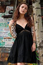 Обои Elena Generi Шатенка Платье Смотрят молодая женщина