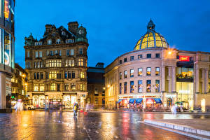 Фотография Англия Здания Вечер Улиц Лучи света Newcastle