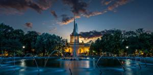 Обои Вечер Фонтаны Санкт-Петербург Россия Alexander Garden город