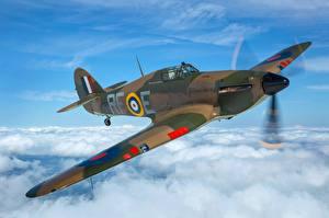 Обои для рабочего стола Истребители Самолеты Летят Облака Британские Hawker Hurricane MK1 Авиация