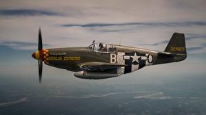 Фото Истребители Самолеты Полет Американская P-51 Mustang Авиация