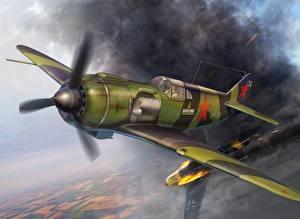 Фотографии Истребители Самолеты Рисованные Летящий Lavochkin La-5, WW2 Авиация