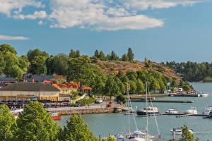 Фотография Финляндия Здания Пирсы Речные суда Берег Naantali Harbour город