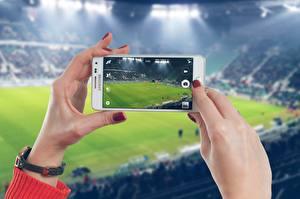 Фотографии Футбол Стадион Рука Маникюра Сматфоном спортивные