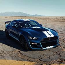 Обои Ford Синих Полосатый Mustang Shelby GT500 2019 Автомобили
