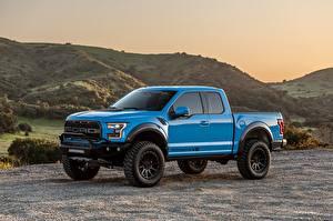 Обои Форд Синий Металл Пикап кузов Raptor, F-150, Hennessey, 2019 Автомобили