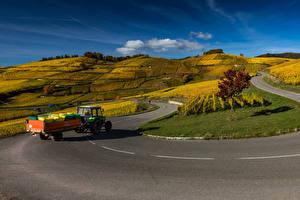 Обои Франция Поля Дороги Холм Тракторы Alsace Природа