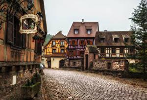 Обои Франция Здания Дороги Улица Kaysersberg Города