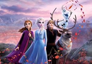 Фото Холодное сердце Олени Disney Снеговика Парни Kristoff, Olaf, Sven, Anna, Elsa Мультики 3D_Графика Девушки