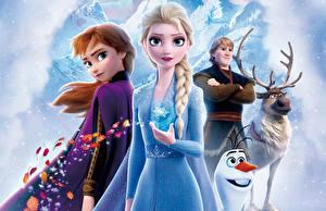 Обои Холодное сердце Олени Дисней Снеговик Юноша Косички Kristoff, Olaf, Sven, Anna, Elsa Мультфильмы 3D_Графика Девушки