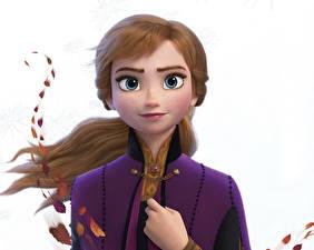 Обои Холодное сердце Дисней Белом фоне Anna мультик 3D_Графика Девушки