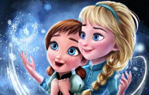 Фотография Холодное сердце Рисованные Косички Anna, Elsa Мультфильмы Девушки