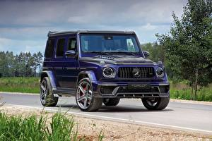 Картинка Гелентваген Мерседес бенц Синяя AMG 63 2018 Top Car