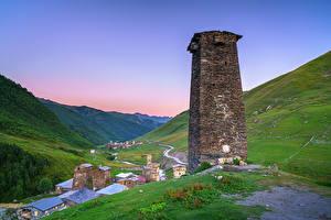 Картинка Грузия Горы Башни Долина Ushguli, Upper Svaneti