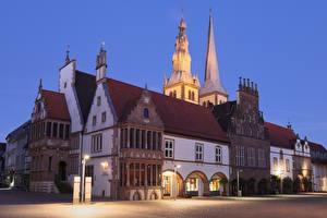 Фото Германия Вечер Здания Уличные фонари Городской площади Lemgo, North Rhine-Westphalia город
