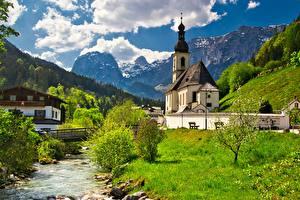 Картинка Германия Гора Церковь Речка Мост Бавария Альп Облачно Ramsau, St Sebastian Church Природа