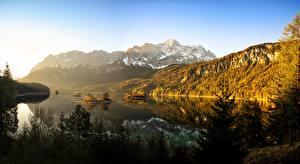 Фото Германия Гора Лес Озеро Бавария Дерево Eibsee