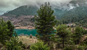 Картинка Греция Озеро Горы Леса Тумане Деревья Tsivlou lake