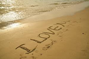 Картинки Пляжа Песок Текст Английский I love you Природа