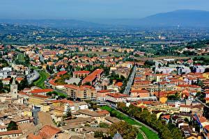 Картинка Италия Здания Сверху Spoleto, Perugia город