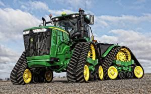 Фотографии Тракторы Зеленых Спереди John Deere 9520 RX