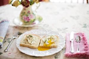 Картинки Нож Хлеб Завтрак Тарелке Ложка Яичница