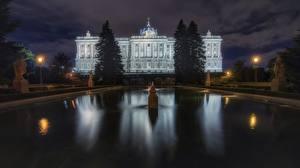 Фотография Мадрид Испания Здания Фонтаны Ночные Palacio Real