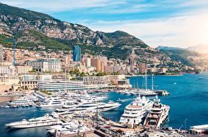Фото Пирсы Яхта Монако Монте-Карло Берег город