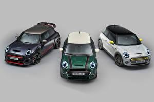 Фотографии Мини Сером фоне Три 2018-20 Hatch Автомобили