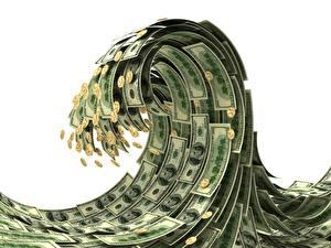 Обои Деньги Доллары Купюры Монеты Волны