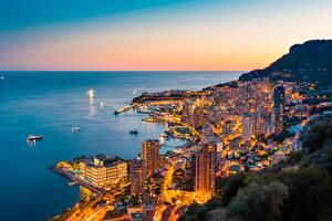 Картинка Монте-Карло Монако Рассвет и закат Берег город