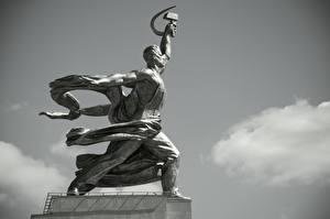 Картинка Памятники Москва Россия Черно белые Сбоку Worker And Collective Farmer