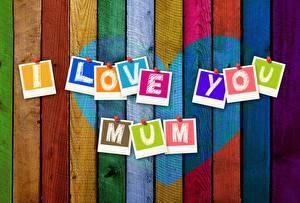 Фотография День матери Сердечко Доски Слово - Надпись Инглийские Разноцветные