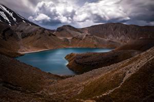Фотографии Новая Зеландия Гора Озеро Облачно Upper Tama Lake, Manawatu-Wanganui